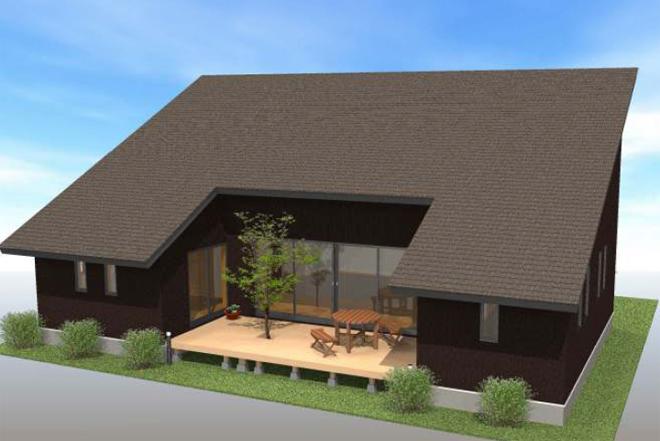 大きな屋根のコの字型平家